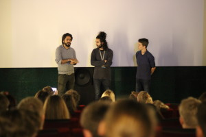 "Saeed Nejati (Filmemacher), Anoush Masoudi (Kurator des Länderschwerpunkts Iran) und Antony Kamp (Schüler und Mitkurator des ""Teen Shorts""-Programms)"